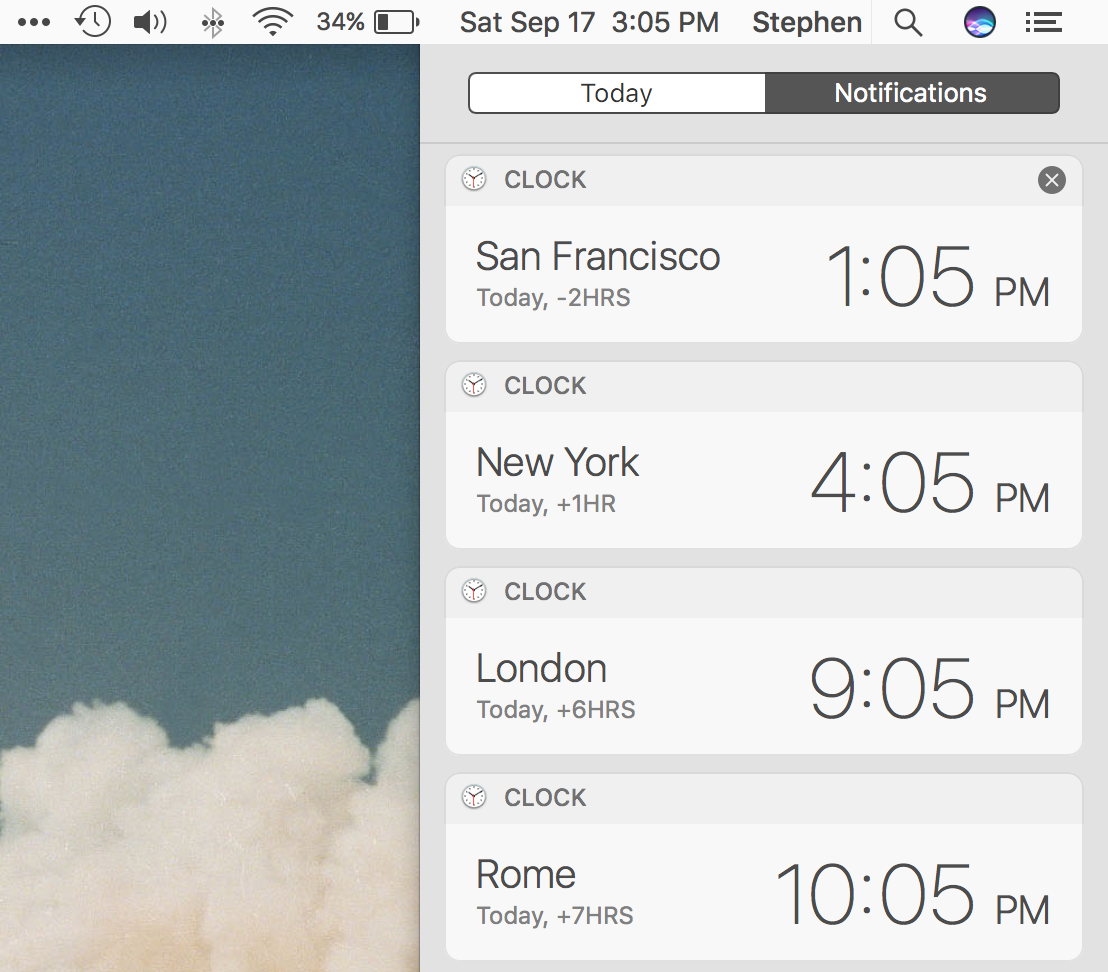 Clocks from Siri in Notification Center