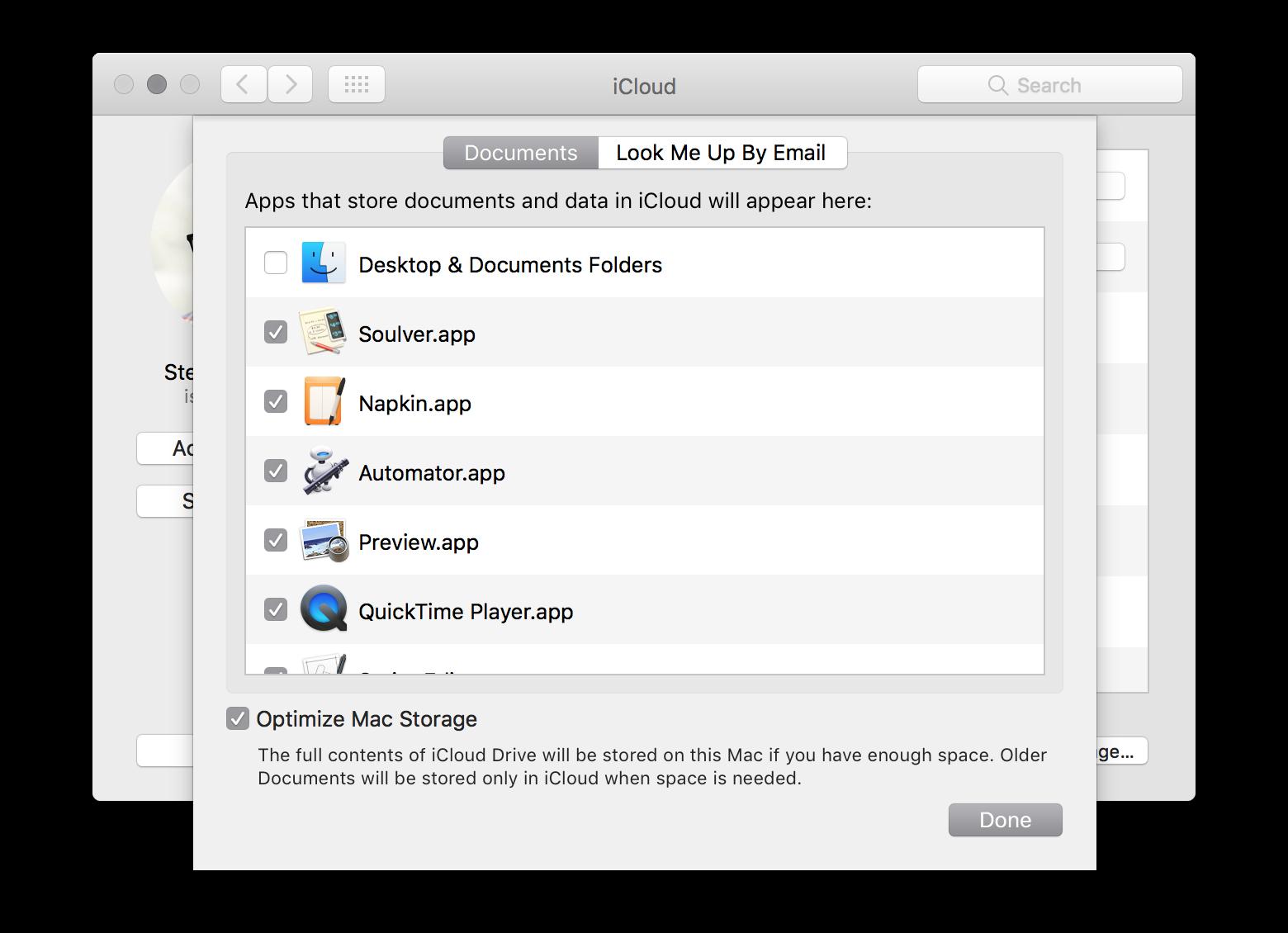 iCloud Storage pane