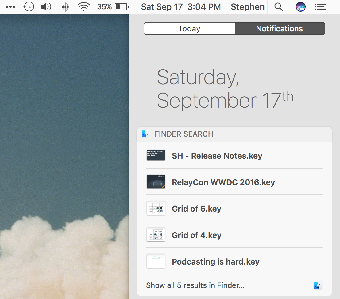 Siri widget
