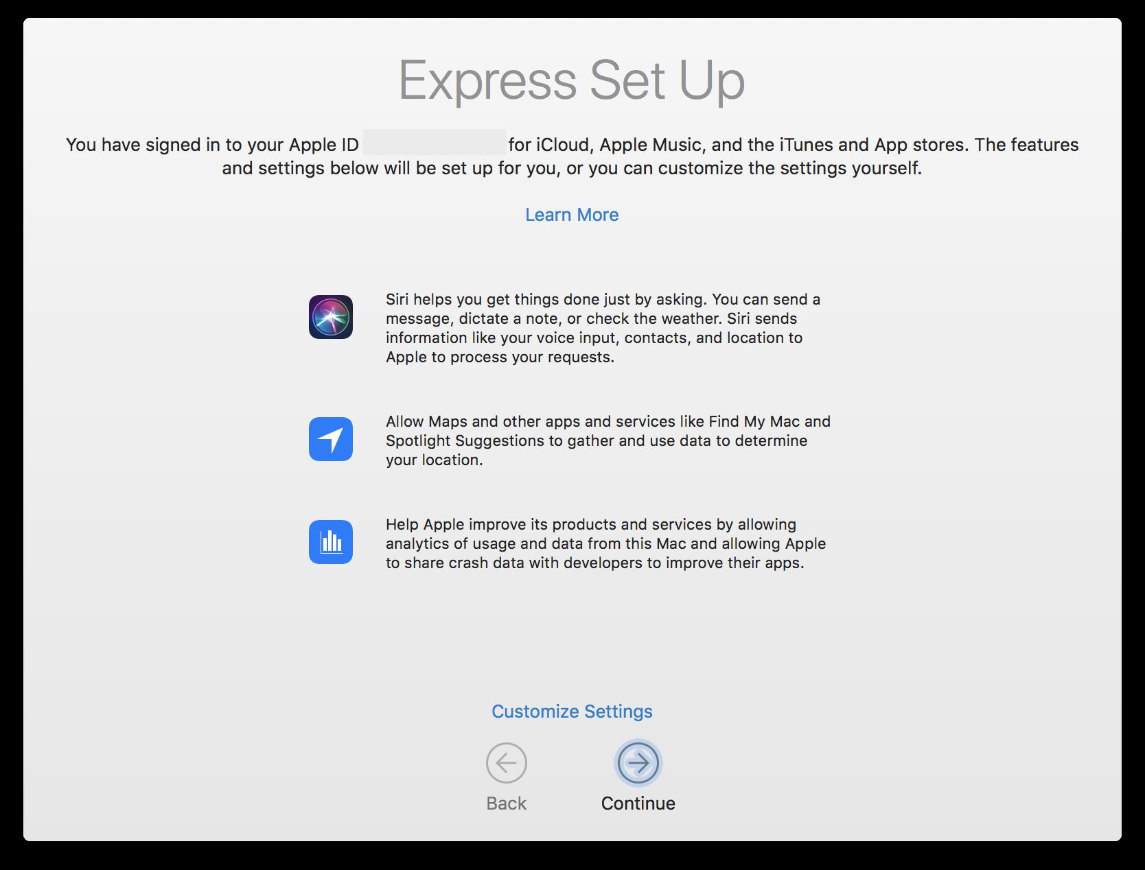 High Sierra's Express Set Up screen
