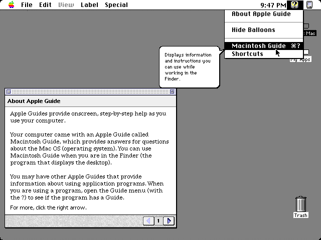 Balloon Help in System 7.5.5