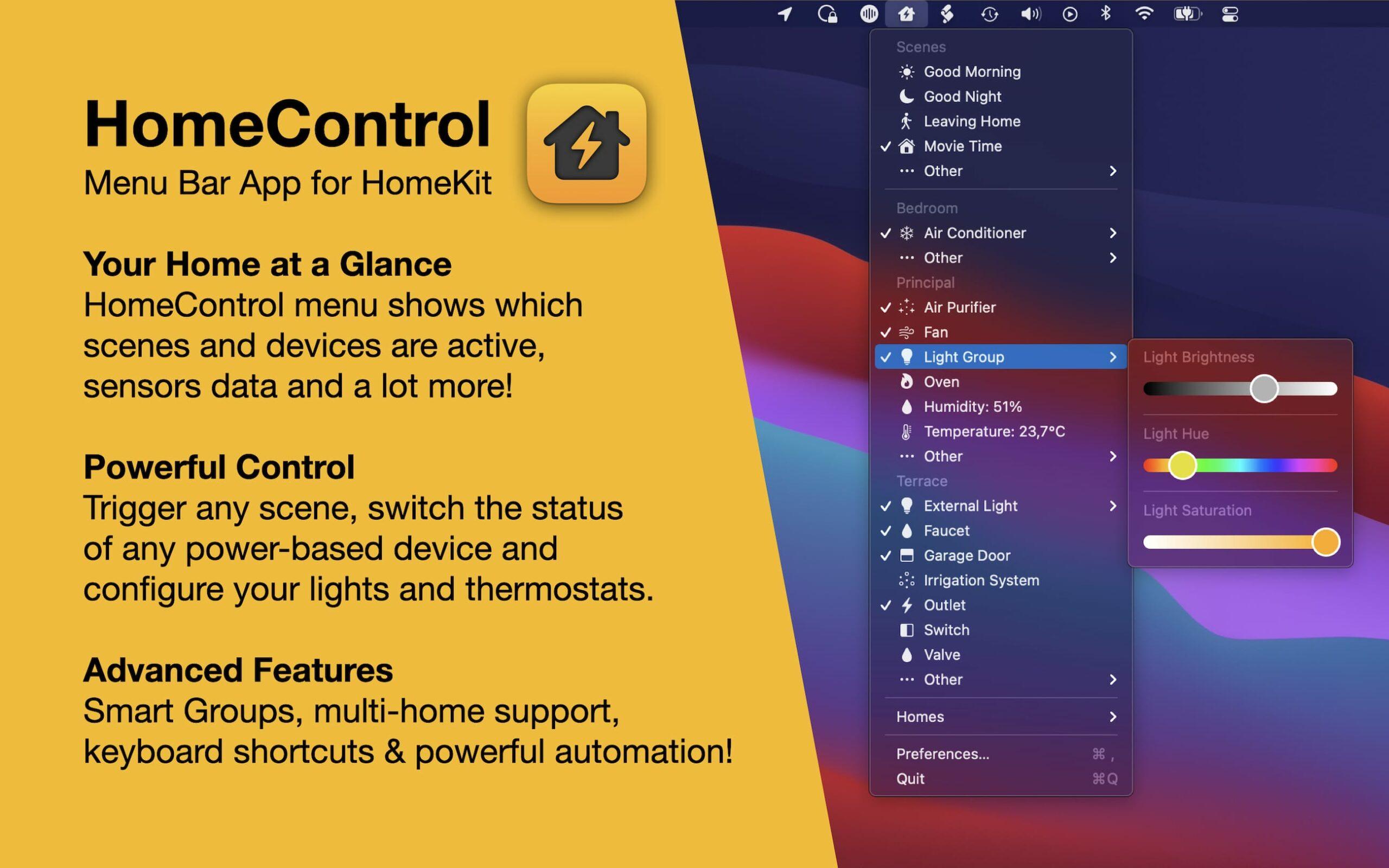 HomeControl Screenshot