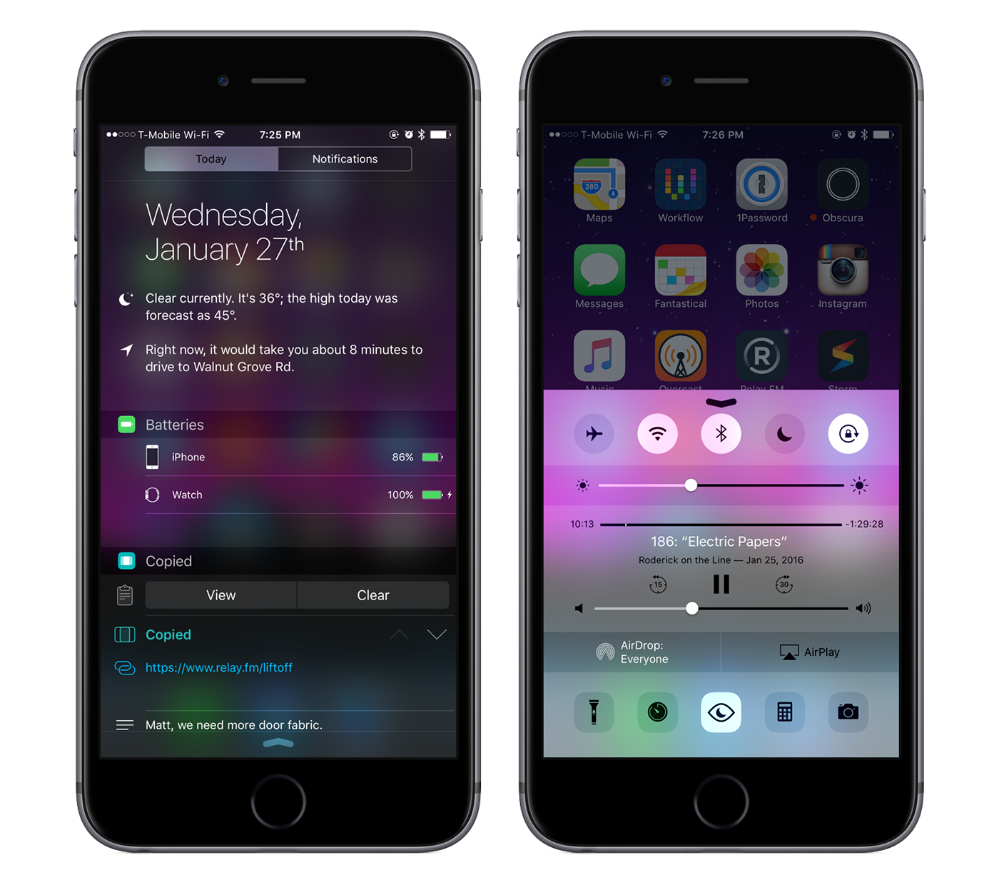 Notification Center and Control Center