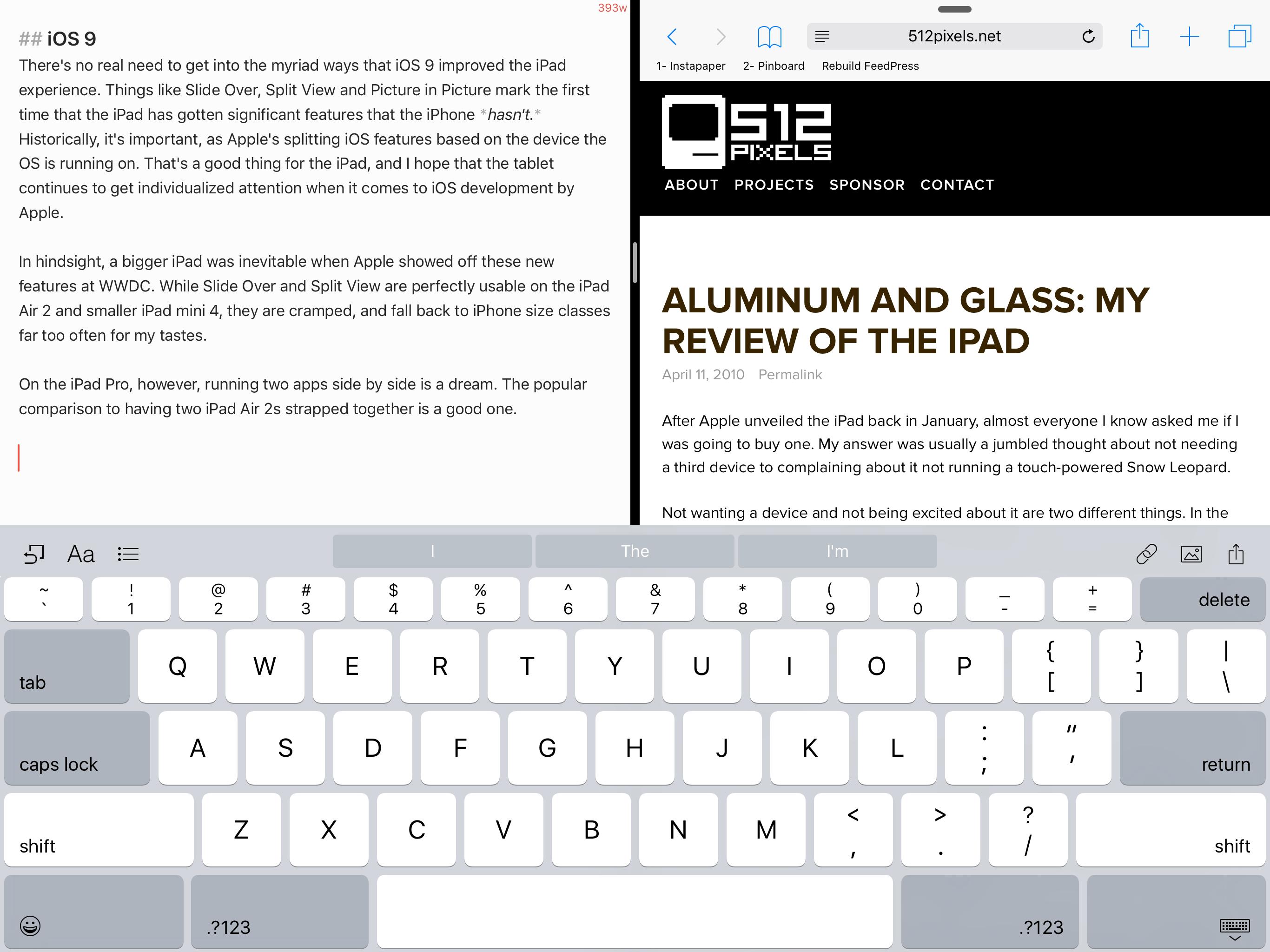 Split View on the iPad Pro