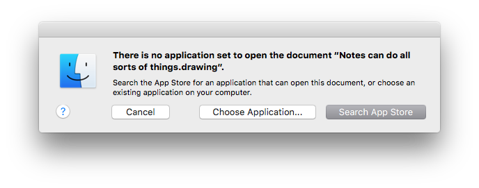 OS X doesn't know what to do with Notes' drawing files